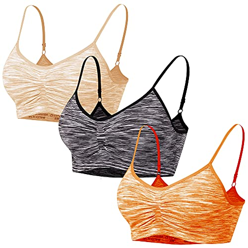 Libella 3er Pack Damen Sport BH Bustier Stretch ohne Bügel 3718 BL+OR+HA 2XL/3XL