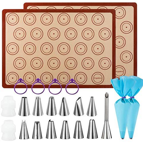 Macaron Baking Kit Silicone Mat - (23pcs set) 2 Half Sheet Macaron Silicone Mat,12 Piping Tip,2 Piping Bag with 4 Bag Tie,2 coupler,1 Puff Nozzle Tip (11.6'x16.5') (Blue)