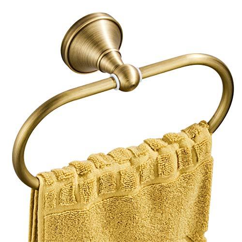 Flybath Ovaler Handtuchring Antiquität Messing Kleiderbügel Handtuchhalter für Badezimmer Küchenaccessoires Wandmontage, Bronze gebürstet