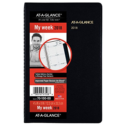 AT-A-GLANCE Weekly Appointment Book/Planner, January 2018 - December 2018, 4-7/8' x 8', Color Will...