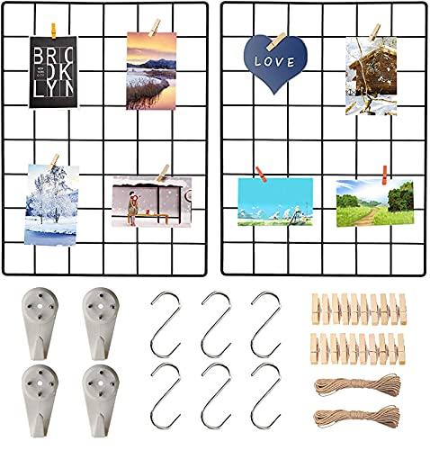 2er-Pack Wandgitter Schwarz , Multifunktionale Gitterwand, DIY Eisen Gitter der Fotowand Dekoration .Pinnwand Foto an der Memoboard Hängen in der Familie, Küche, Büro und so weiter (30*40 cm)