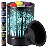 kanlarens Wax-Melt Warmer for Scented Wax-Melter Candle Electric-Burner - Fragrance Oil Heater with 7 Colors Led Changing Light for Home Decor (Black Tree)