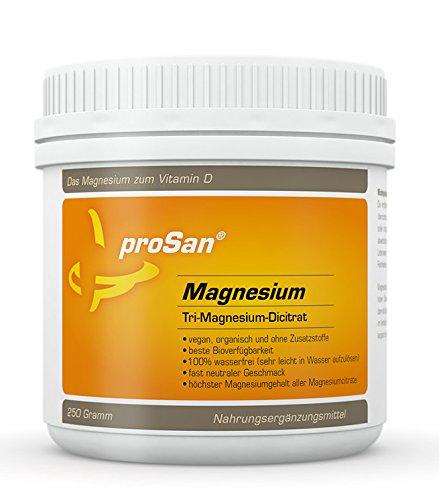 proSan Magnesium, veganes Pulver mit 250 g Tri-Magnesium-Di-Citrat, hoher Gehalt an elementarem Magnesium (16,4%), organisch, wasserfrei, ohne Zusatzstoffe
