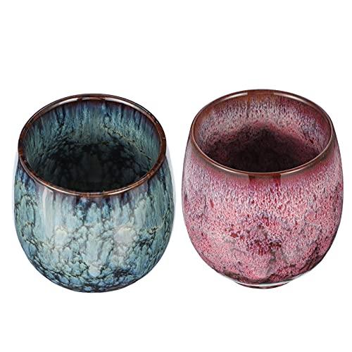 Lurrose 2 Tazas de Té de Cerámica Tazas de Café Decorativas Tazas de Té de Fu Chino para Jugo de Té Capuchino Chocolate Rojo Verde
