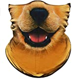 Obacle Seamless Face Mask Bandana Half Dog Face Mask Dust Wind Sun Protection Durable Thin Neck Gaiter 3D Tube Face Cover Mask for Men Women Motorcycle Riding (Dog Cute Open Mouth Yellow)
