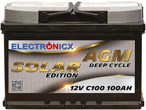 Solarbatterie 12V 100AH Electronicx Solar Edition AGM Batterie Solar Akku Versorgungsbatterie stromspeicher photovoltaik Camping Solaranlage Gartenhaus