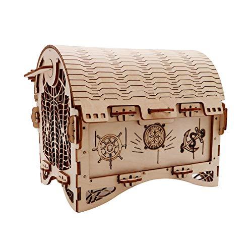 GODNECE 3D Holzbausatz, Vintage Treasure Box 3D Holz Puzzle-Mechanische Bausatz 3D Kinder DIY Modellbau Lasercut Puzzle Holz Bausatz für Kinder Erwachsene