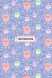 Notebook: Kawaii Cat Cotton Candy Purple, Wide Ruled 110 pages (6.14
