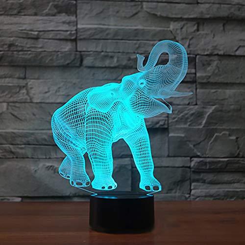 Nuevo 3D elefante noche luz ilusión lámpara 7 cambio de color LED táctil USB mesa regalo niños juguetes decoración Navidad San Valentín regalo