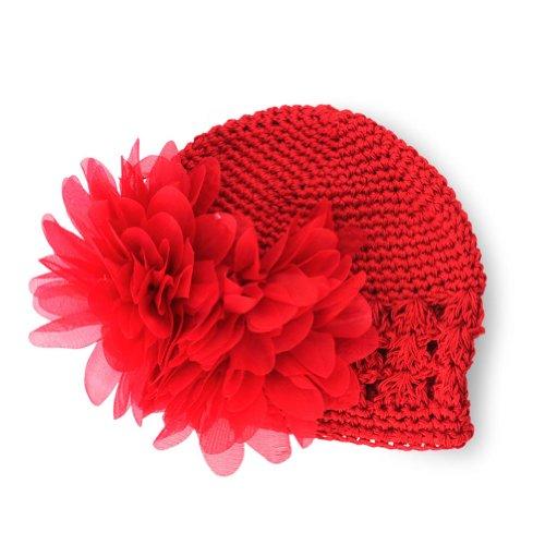 Fashion Sweet fleur en crochet chapeau Bonnet nouveau-né bébé tout-petits Filles rouge taille unique