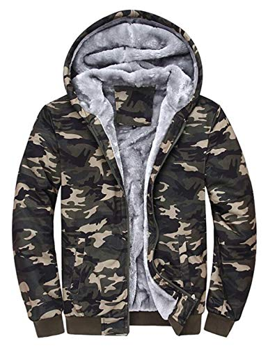 D.B.M Men's Fashion Plus Velvet Thick Windproof Warm Hooded Camouflage Jacket (Large, Army-Green)
