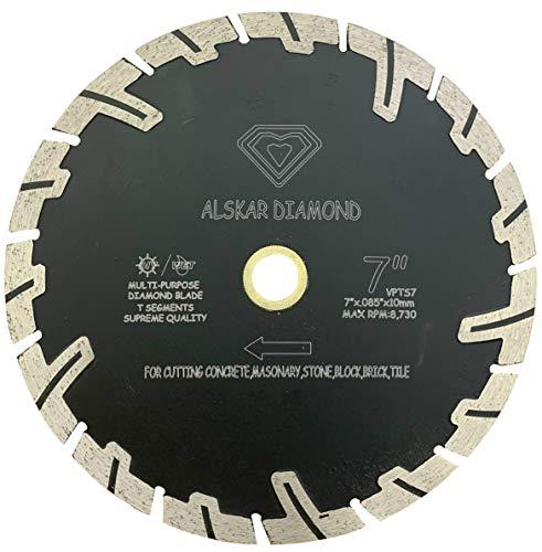 ALSKAR DIAMOND ADLTTS 7 inch Supreme Quality Dry or Wet Cutting Saw T Segmented Diamond Blades for Granite Stone Concrete (7