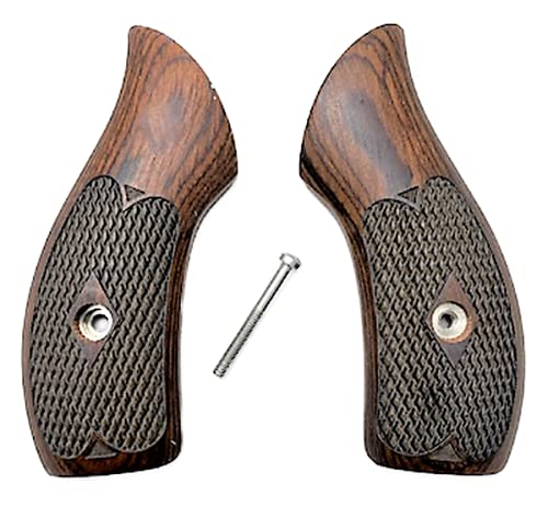 Premium Gun Grips Compatible Replacement for Smith & Wesson Checkered Rosewood Low Profile J Frame Grips Round Butt