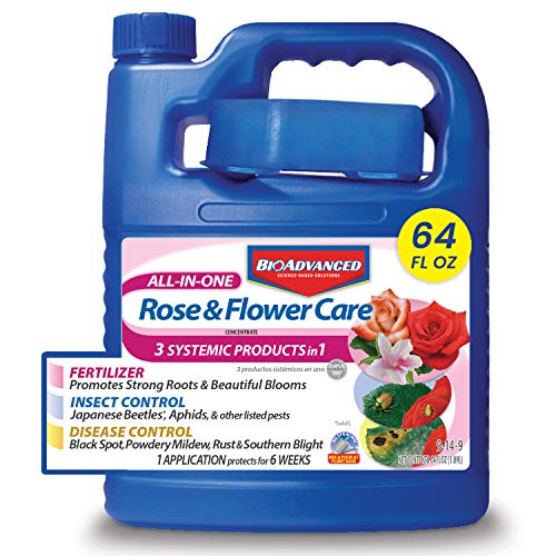 BioAdvanced 701262 All-in-One Rose and Flower Care Plant Fertilizer, Insect Killer, and Fungicide, 64-Ounce, Concentrate