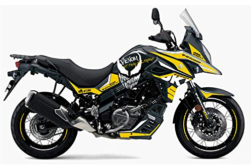 Motostick Graphics Kit de calcomanías compatible con Suzuki V-Storm 650 2017-2021 'Venom' (negro/amarillo)
