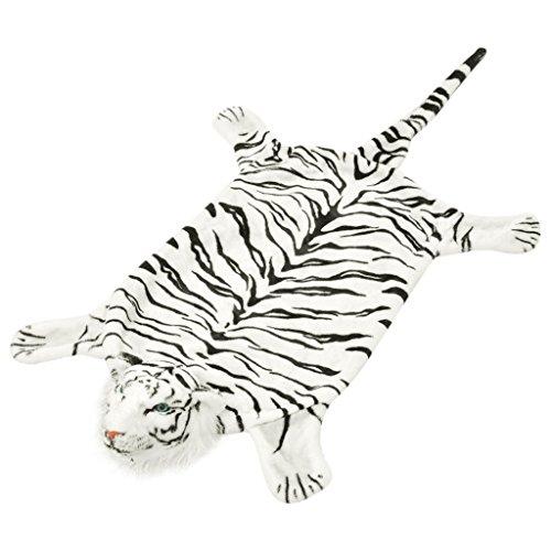 Festnight Alfombra de Tigre de Peluche - Color de Blanco, Material de Peluche, 144 x 78 cm