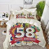 ropa de cama: juego de funda nórdica, decoraciones de cumpleaños número 58, círculos geométricos de estilo abstracto triángulos deseos de nacimiento Patte, funda de edredón de microfibra hipoalergénic