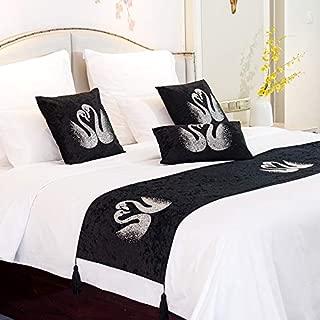 QCQZPL Bed Runner Hotel Bed Flag European Velvet Swan Lake Luxury Hotel Bed Flag B&B Hotel Bed Towel, 45180cm Bed Flag, swan hot Diamond Black