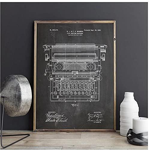 BINGJIACAI Máquina de escribir de oficina, modelo de patente, máquina de escribir, arte de pared, lienzo, impresiones, carteles, pintura, oficina, decoración del hogar, 40x60cm sin marco