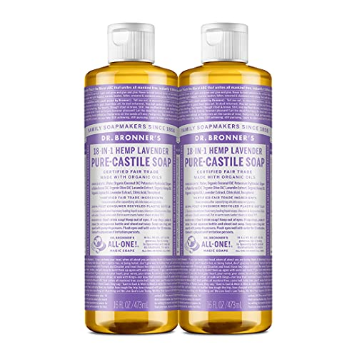 Dr. Bronner's - Pure-Castile Liquid Soap (Lavender, 16 ounce, 2-Pack) - Made with Organic Oils, 18-in-1 Uses: Face, Body, Hair, Laundry, Pets and Dishes, Concentrated, Vegan, Non-GMO