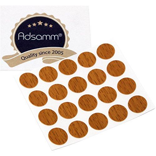 Adsamm®   20 x Abdeckkappen   Ø 13 mm   Walnuss   rund   0,45 mm dünne selbstklebende Möbelpflaster von Adsamm®