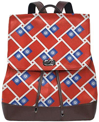 Flyup PU Leder Rucksack Myanmar Flag Weave Women Backpack Purse Waterproof Leather Anti theft Schoolbag Lightweight Rucksack