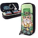 Estuche para lápices Happy St. Patrick's Day Cat Bolso para bolígrafos de gran capacidad Gran almacenamiento