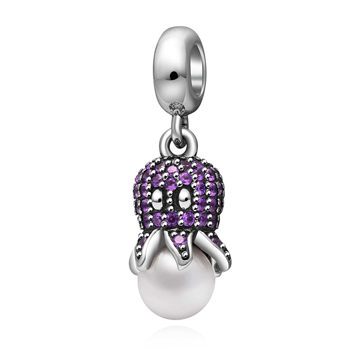 Purple Octopus Dangle Charm 925 Sterling Silver Night Owl Beads fit for DIY Charms Bracelets