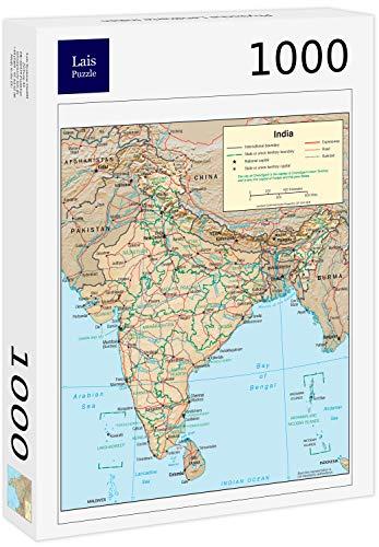 Lais Puzzle Mapa físico de la India 1000 Piezas