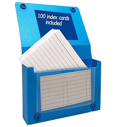 """Index Card Case, 3x5 Inch Index Card Holder, Fits Up to 100 Cards Per Case Assorted Colors - With Heavy Weight Ruled Index Cards, 3"""" x 5"""", 100/Pack - Store Recipe Cards, School Index Cards (3x5 Inch)"""