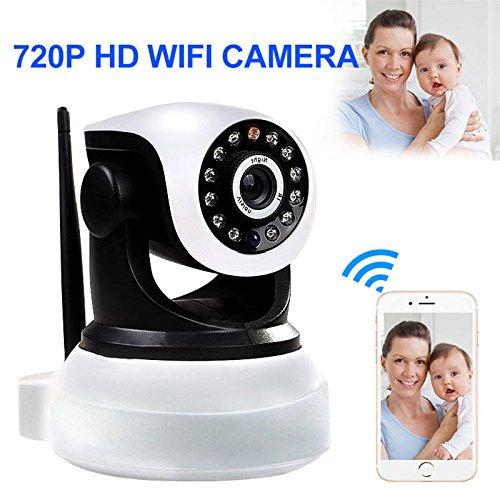 Rosepoem Cámara De Red Inalámbrica De 720P WiFi, Cámara Web De Seguridad De Visión Nocturna con Interfono De Voz con Intercomunicador De Voz para Bebés/Ancianos / Mascotas - EU