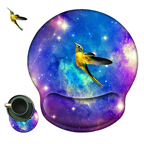 Ergonomic Mouse Pad with Wrist Support Gel, Gaming Mouse Pad with Wrist Rest Pain Relief Non-Slip PU Base +Coasters and Stickers for Laptop/Office/PC/Wireless, Hummingbird Galaxy