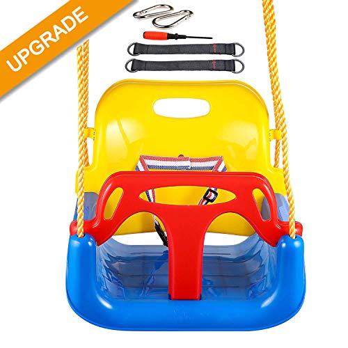 IMMEK 3 in1 Altalena da Giardino Bambini Sedile Seggiolino Bambini in Plastica Sedile Regolabile per Altalena da Giardino per Bambini