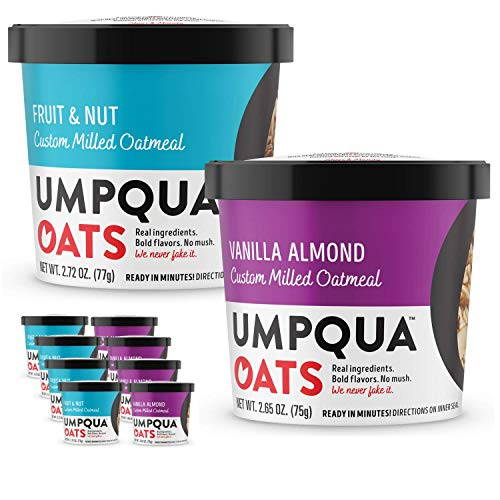 Umpqua Oats All Natural Instant Oatmeal Cups, 4 Fruit & Nut and 4 Vanilla Almond, 8 Count, Variety Pack