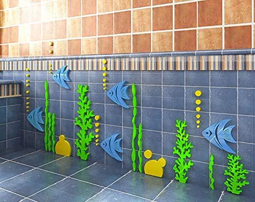 Jhtadva 3D driedimensionaal acryl creatieve Aquarium muurstickers kinderkamer badkamer badkamer accessoires 87 * 180cm E