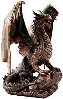 Pacific Giftware Bronzite Dragon Standing on Rock Statue Collectible Figurine 9 Inch