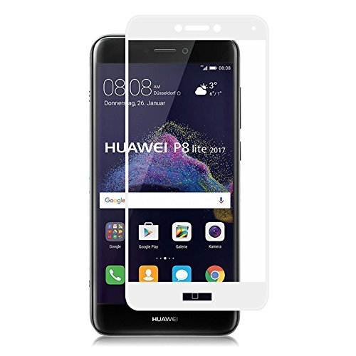EUGO Pellicola Protettiva Huawei P8 Lite 2017-3D Full Coverage Huawei P8 Lite 2017 Vetro Temperato 9H Premio di Protezione P8 Lite 2017 Pellicola Schermo - Bianca