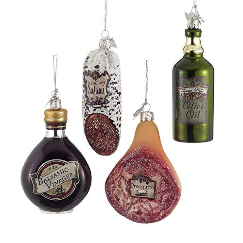 "3.5"" Noble Gems Glass Italian Food Ornament, Set Of 4 Assorted"