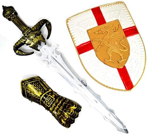 ARUNDEL SERVICES EU Espada Proteger y guantlet Espada Accesorio Juguete de Caballero Escudo y Espada Juego Juguete Guerrero Espada de niño Dragones Guerrero