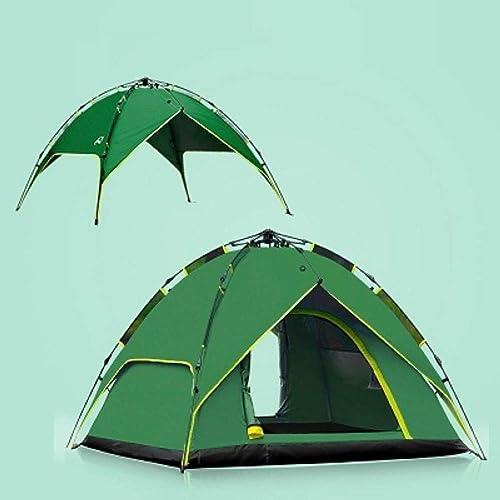 JJHR tente Extérieur Imperméable à l'eau 3-4 Personne Camping Tentes Anti-UV Double Couches Equipement Tentes Touristiques Plage Pêche Brise-Vent Tentes