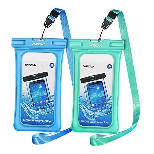 Mpow® Floating Wasserdicht Schutzhülle Wasserfest Beutel, Unterwasser Neue Typ TPU Dry Bag für Handy bis 14,5cm 2er Pack