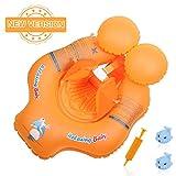 Delicacy Baby Schwimmring, Säuglings Schwimmen Schwimmer Sitz, Justierbare Taille Baby aufblasbarer Ring mit Auftriebsboje und Crotch Unterteil Stützung, für Babys über 8 kg / 6-24 Monate, Orange