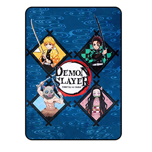 Demon Slayer Blanket- Officially Licensed Merchandise from The Anime Demon Slayer- Comfy Lightweight Fleece, Throw, 45x60 inches (Blue)