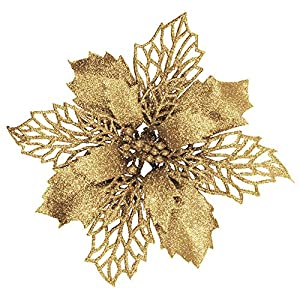 24 Pcs Christmas Gold Glittered Mesh Holly Leaf Artificial Poinsettia Flowers Picks Tree Ornaments 5.9″ W for Gold Christmas Tree Wreath Garland Floral Gift Winter Wedding Holiday Decoration