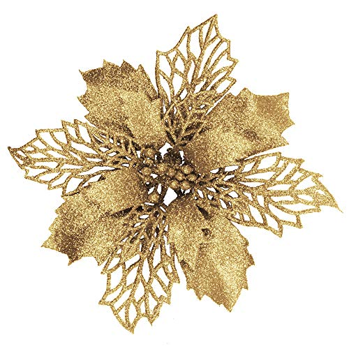 24 Pcs Christmas Gold Glittered Mesh Holly Leaf Artificial Poinsettia Flowers Picks Tree Ornaments 5.9' W for Gold Christmas Tree Wreath Garland Floral Gift Winter Wedding Holiday Decoration