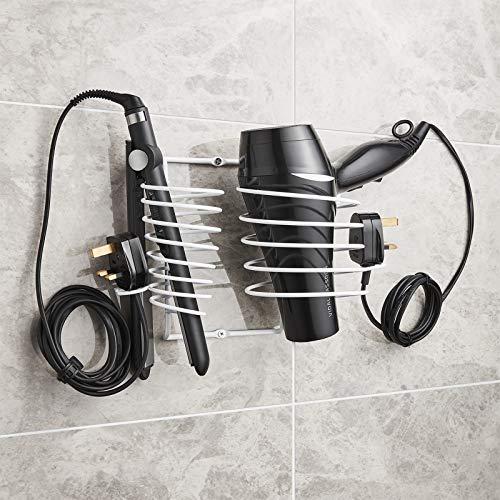 Direct online Houseware asciugacapelli, con piastra per supporto e cavo, in cromo, nero o bianco bianco