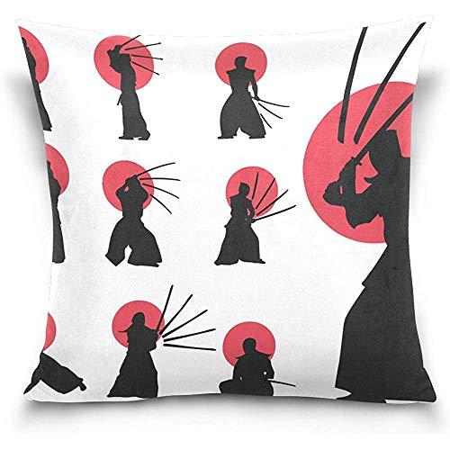 Fundas de almohada de terciopelo suave de silueta japonesa Kendo, 18X18 en fundas de almohada protectores de impresión de doble cara para decoración del hogar
