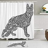 AYISTELU Juegos de Cortinas de baño con alfombras Antideslizantes, Libro para Colorear de Pastor alemán para Adultos Animal Black Dog Domestic Drawing Sketch,con 12 Ganchos