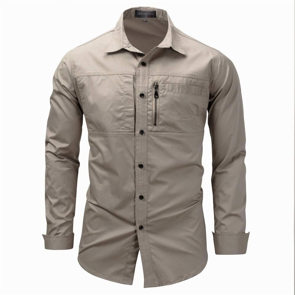 ZDAMN Camisa Ocasional de los Hombres Camisa Cargo de Color sólido con Cuello de Solapa y Bolsillos con Cremallera (M-XXL) ForBusiness Work Daily Camisa de la Ropa de los Hombres Casuales: Amazon.es: