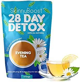 Skinny Boost 28 Day Detox Evening Tea-(14 tea bags) by G&G Brands- Detox and Cleanse naturally. Reduce bloating, release toxins and increase energy for weight loss. The best teatox tea